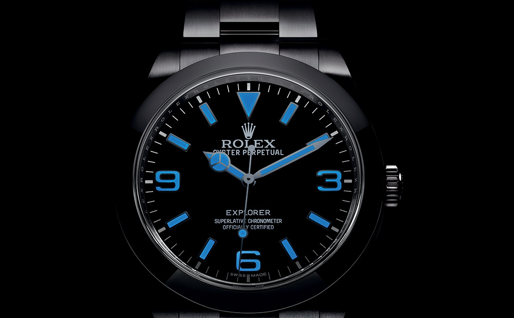 Rolex Explorer 39mm Black Dial Replica Watch Gets A Chromalight