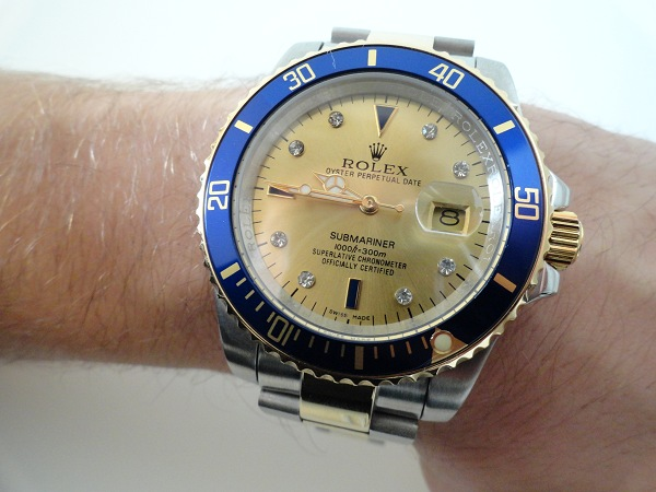 Rolex Submariner Champagne Serti diamond replica watch