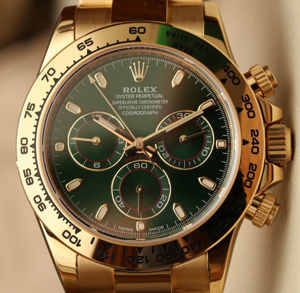 Rolex Cosmograph Daytona 116508 Green Dial 18k Yellow Gold Watch Hands-On Hands-On