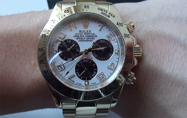 White Dial Rolex Daytona Yellow Gold Replica Watch