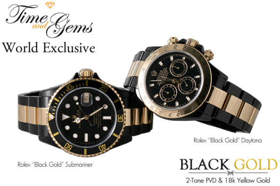 Rolex Submariner & Daytona Black & Gold Modified Watches Watch Releases