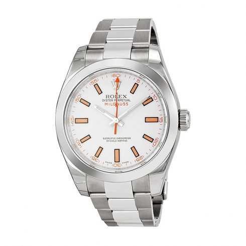 Rolex Milgauss White Dial Stainless Steel Oyster Bracelet Automatic Men's Watch 116400WSO